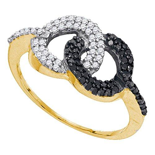 10K oro amarillo redondo círculo Black...