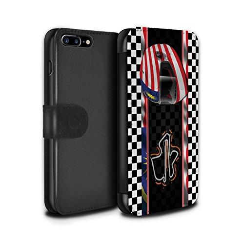 Stuff4 Coque/Etui/Housse Cuir PU Case/Cover pour Apple iPhone 7 Plus / Russie/Sochi Design / F1 Piste Drapeau Collection Malaisie