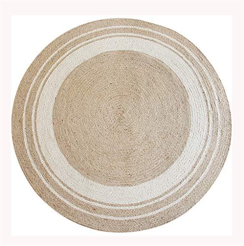 LMXJB ÜBergrößE Blanc Und Beige Kreisspleiß NatüRlicher Teppich Aus Jute-Sisal - 100% Handgewebte Naturfaser Geflochten Holzbodenmatte - Einfache Gastfamilie Dekoration Teppich,Round2m/6'6FT