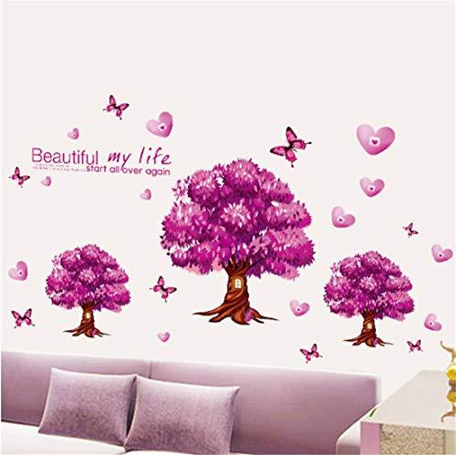 Deyimr Arbres Amovibles Purple Canapé-Lit Arrière-Plan Décoration Chambre Stickers Muraux Décoration