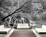 selbstklebende Fototapete - Wasserfall im Herbst - schwarz weiss - 230x150 cm - Wandtapete – Poster – Dekoration – Wandbild – Wandposter - Bild – Wandbilder - Wanddeko