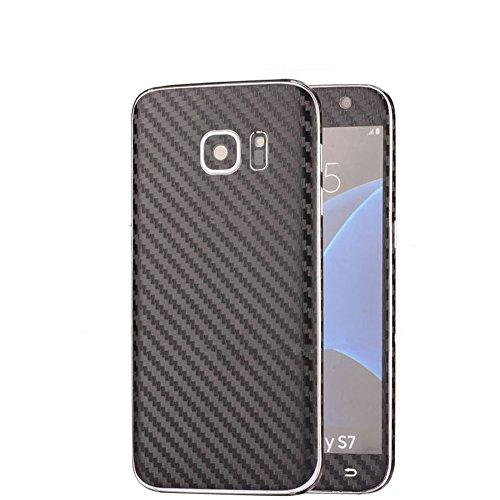Outstanding® Caso autoadesivo del corpo in fibra di carbonio completa + Pellicola trasparente protezione anteriore dello schermo per Samsung Galaxy