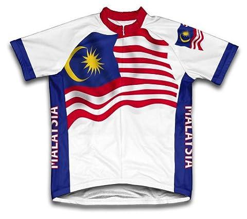 malaisie Drapeau Maillot de cyclisme à manches courtes pour homme moyen Blanc - blanc