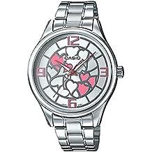 CASIO LTP-E128D-7A - Reloj analógico de mujer. Acero Inoxidable. Esfera rosa y plata