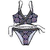 Pinklu Bikini con Estampado éTnico Estilo Honda De Correa para Mujer Bikini De Mujer con Conjunto De Bikini Traje De BañO