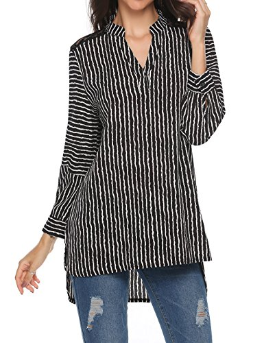 Parabler Damen Bluse Elegant Chiffon V-Ausschnitt 3/4 Arm Casual Shirt Tops Oberteile Tunika Hemd T-Shirt Lose Hemdbluse Einfarbig Gestreift