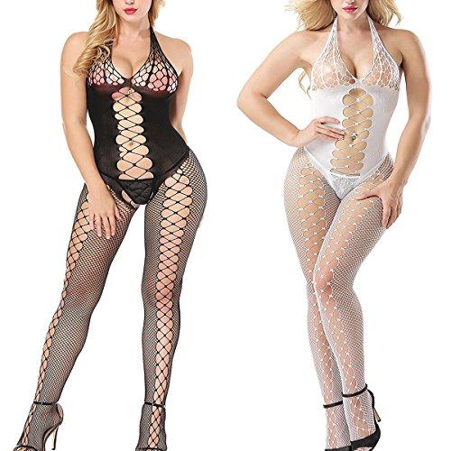 LOVELYBOBO 2-Pack Rückenfrei Bodystocking Netz Damen Dessous Body Einheitsgröße Bodysuit Nachtwäsche Dessous (Schwarz+Weiß) (Bodysuit Spandex Nylon)