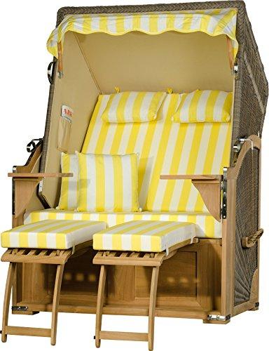 Möbelpromenade Strandkorb Juist Teak PE Grau Dessin Gelb Weiß fertig aufgebaut