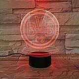 Lixiaoyuzz Nachtlampe Usb 3D Led Bundesliga Borussia Dortmund Fußball Team Club Fc Kinder Fans Geburtstag Geschenke Fußball Bvb Schreibtischlampe Schlafzimmer