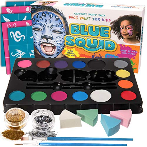 Kinderschminke Set Face Paint von Blue Squid, Hochwertiges -