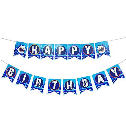 WERNNSAI Hai Party Dekorationen - Alles Gute zum Geburtstag Banner Girlande Wimpel für Jungen Kinder Blau Shark Ozean-Thema Schwimmbad Partyzubehör
