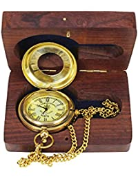 Kartique Brass Half Hunter Victoria London Antique Style Pocket Watch With Chain | | Roman Number Dial | Pendant...