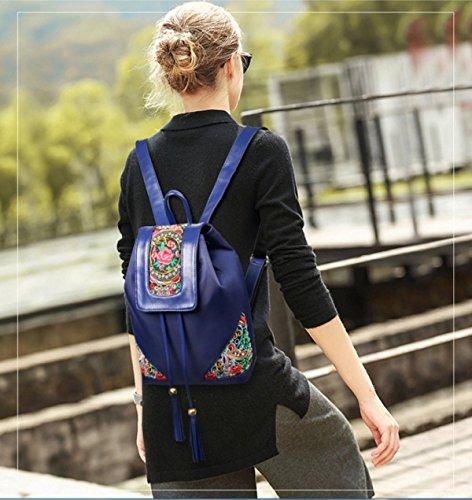 National Wind Oxford Tuch Rucksack Tasche Frau Stickerei blue