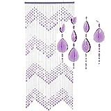 HAB & GUT -DV0333- Türvorhang KLUNKER, violett, 90 x 200 cm Perlenvorhang Pailettenvorhang