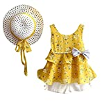 3 PCS Tenues Mignonnes de Bébé Fille T-shirt à Fleurs + Un Pantalon + Chapeau de Soleil (5Ans, Jaune)