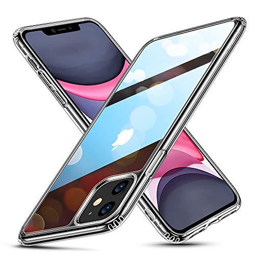 ESR Glas Entwickelt für iPhone 11 Hülle - 9H Panzerglas Rückseite mit TPU Rahmen - Kratzfeste Schutzhülle mit Weichem Silikon Bumper und Stoßabsorption für iPhone 11-Klar
