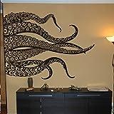 Kraken Oktopus Aufkleber Fashion Tentakeln Wand Aufkleber Ocean Tier Wandtattoo, Vinyl, schwarz, 44