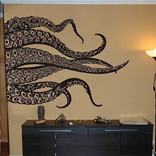 Fashion tentáculos adhesivo para pared pulpo Kraken Océano Animal adhesivo decorativo para pared, vinilo, negro, 44'h x58'w