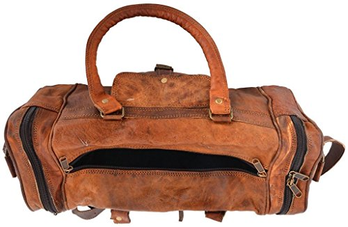 "Best tumi backpack in India 2020 Leather Bag Vintage Brown Genuine Handmade 18"" Inches Square Duffle Bag by Pranjals house Image 4"