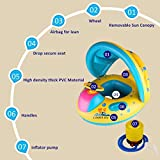 Inflatable Baby Pool Float Swimming Ring Children Toddler Aid Seat Boat with Sun Canopy for the Age 6 to 24 Months with Storage Bag and Air Pump
