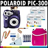 Polaroid PIC-300 Instant Film Analog Camera (Purple) with (5) Polaroid 300 Instant Film Packs of 10 + Polaroid Neoprene Pouch + Polaroid Cleaning Kit + Polaroid Neck & Wrist Strap + (4) AA Batteries & Charger
