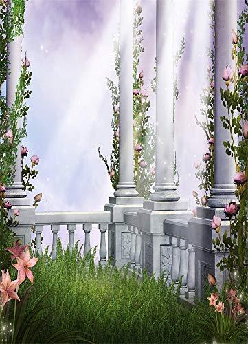 EdCott 5X7FT Hintergrund Fotografie Architektonische Gestaltung Säule Garten Säule Blumen Gras Märchen Wunderland Kinder Prinzessin Mädchen Fotografie Hintergrund Studio Requisiten 1,5x2,2Mt