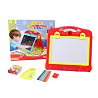 Inside Out Toys Childrens 2 in 1 Foldable Desktop Learning Desk, Learning Easel with Blackboard and Magnetic Whiteboard