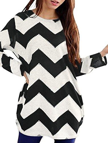 allegra-k-women-round-neck-contrast-zig-zag-pattern-knitted-shirt-l-black-white