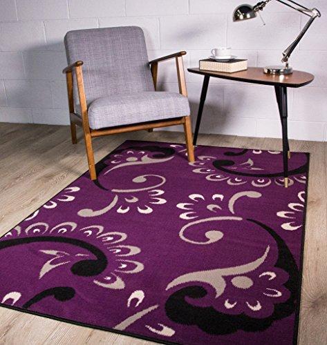 zeitgenössischer Design-Teppich mit Blumen-Silhouetten im Paisley-Stil in lila 80cm x 150cm (7 Rag-rug-5 X)