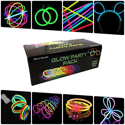 Imagen de pack fiesta glow pulseras, collares, gafas, pulseras triples, orejas conejo, pendientes, flores, bola luminosa  224 elementos