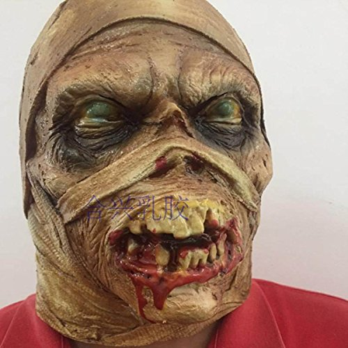 WKAIJCA Halloween Grimasse Maske Latex Kappe Zombie Dämon Beängstigend (Beängstigend Dämon)