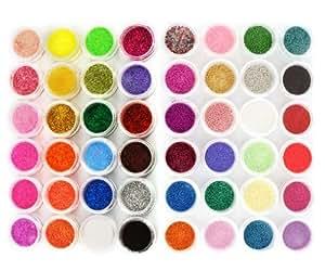 48 Farben Nagel Dekoration Funkeln Pulver Glitter Glimmer Staub + Perlen