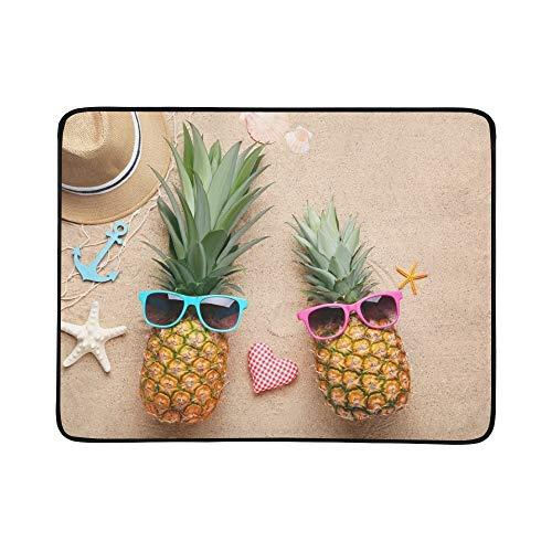 SHAOKAO Reife Ananas-Sonnenbrille auf Strand-Sand-tragbarer und Faltbarer Deckmatte 60x78 Zoll-handliche Matte für kampierenden Picknick-Strand
