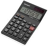 Sharp Electronics ELM700TWH Tischrechner 8 Stellen, elegantes Design, Steuerberechnung, schwarz/weiß