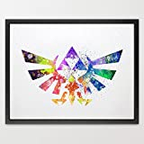 dignovel Studios Hyrule Crest moderne de Legend of Zelda Link Aquarelle Art Print Art Mural à suspendre Home Decor garçons chambre Art Motivation Art n296-unframed inspirants
