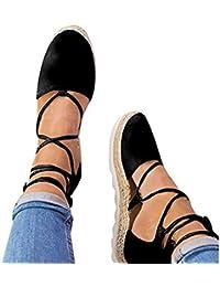 Juleya Mujer Sandalias Verano Zapatos Plano con Cordones Sandalias Plataforma Desnudo Zapatos Moda Cerrado Zapatos 36-44
