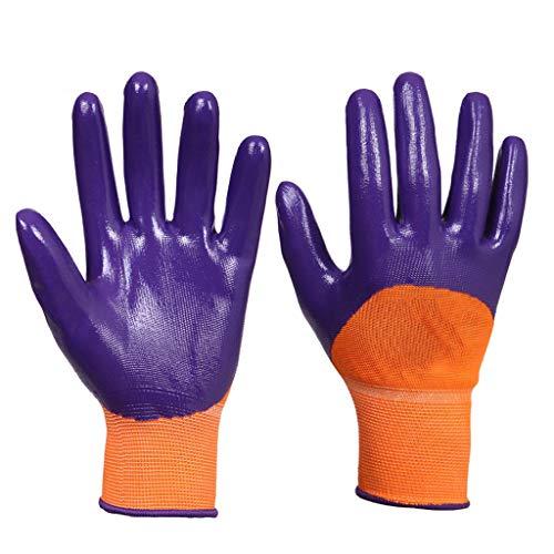 andschuhe Nylon-Latex-Falten-beschichtete Arbeitshandschuhe Strick-Handgelenk-Manschetten-Schutz Flexibel (lila, 12 Paare Pro Packung) ()