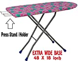 PlutoMax Heavy Folding Large Ironing Board Stand with Iron Holder/Iron Table (Colour May Vary, Multi-Color)
