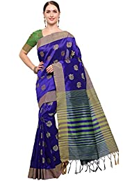 Varayu Women's Tussar Silk Jacquard Buti Striped Party Wear Maheshwari Saree With Unstitched Blouse