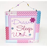 Girls Bedroom Canvas Wall Art Print with Sequins (30cm x 30cm) - Dream Sleep Wish