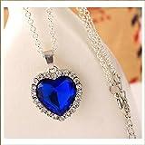 5starwarehouse® Halskette mit blauem Herz-Kristall, versilberte Legierung, Titanic - Herz des Ozeans