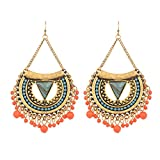 lureme Bohemien Women's Ohrringe Harz Beads Träne with Quaste Dangle Earring-Antique Gold(er005258-1)