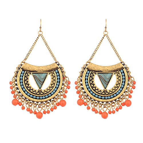 (lureme Bohemien Women's Ohrringe Harz Beads Träne with Quaste Dangle Earring-Antique Gold(er005258-1))