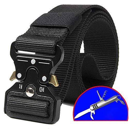 FXXUK Men Tactical Belt Cobra Buckle Gürtel 1,5 Zoll Tactical Heavy Duty Gürtel Nylon Military Style Gürtel mit Quick-Release Metal Cobra Buckle,Black