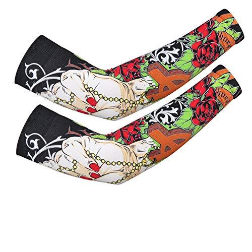 ce Sleeve Ice Silk Sleeve Männer und Frauen Fahren Handschützer Sport Flower Arms Tattoo Sleeve, Cross - One Size ()