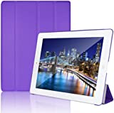 JETech® Gold Slim-Fit iPad Smart Cover Case for Apple iPad 2 iPad 3 iPad 4 (2014 Version with Built-in Stand and Front/Back Protection and Built-In Magnet for Sleep/Wake Feature) (iPad 2/3/4, Purple)