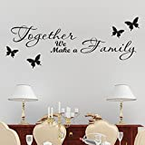 DRESS_Home ❤️❤️Black Art Alphabet Sticker, Together We Make a Family Wall Sticker PVC Home Decor Removable Living Room Decal Art Mural Decoration
