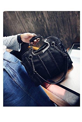BHUE Frauen Handtasche Mode Lässig Umhängetasche Handtasche Mädchen Party Retro Damen Mode Damen Tasche Black