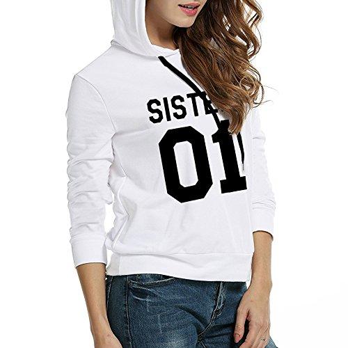 Kapuzenpullis Frauen Best Friends Sweatshirt Langarm Damen Hoodies Pullover Tops Bluse Kapuzen von ZIWATER .Weiß