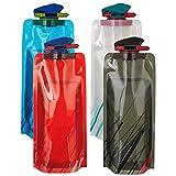 Scarlet Sport | Faltbare Trinkflasche »Compact« (700 ml); Set mit 4 Flaschen; BPA-frei; flexibel, rollbar, zusammenklappbar, wiederverwendbar